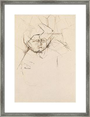 Analytical Study Of A Woman's Head Against Buildings Framed Print