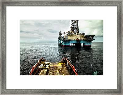 Anchor Handling Tug Near Oil Rig Framed Print