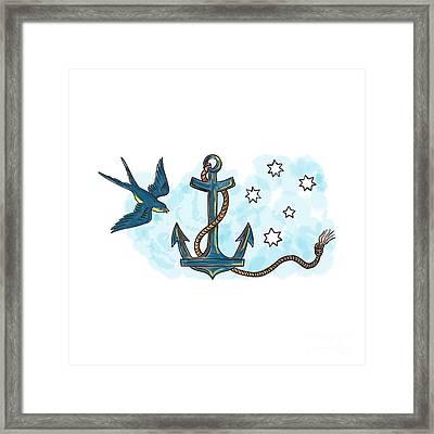 Anchor Swallow Southern Star Tattoo Framed Print by Aloysius Patrimonio