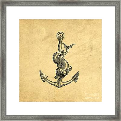 Framed Print featuring the drawing Anchor Vintage by Edward Fielding