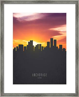 Anchorage Alaska Sunset Skyline 01 Framed Print