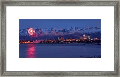 Anchorage Fur Rondezvous Fireworks Framed Print by Rocky Grimes