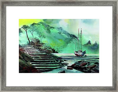 Framed Print featuring the painting Anchored by Anil Nene