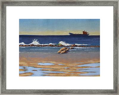 Anchored In The Bay Framed Print by Leana De Villiers