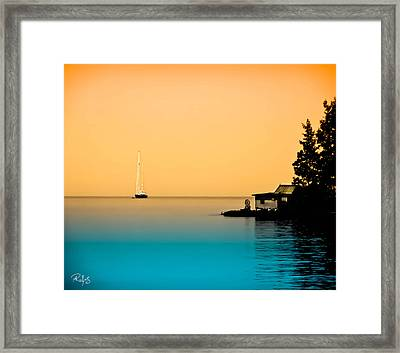 Anchored Near A Temple - Sureal Framed Print by Allan Rufus