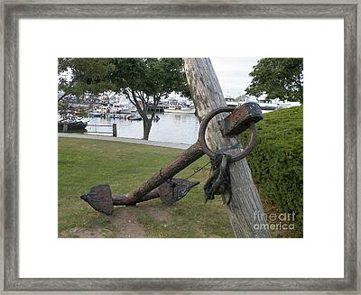 Ancient Anchor In Plymouth Massachusetts Framed Print by Gina Sullivan
