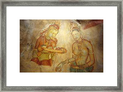 Ancient Cave Wall Paintings Depicting Framed Print by Jason Edwards