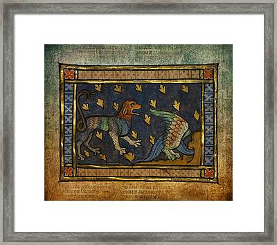 Ancient Celtic Art Lion With Dragon Framed Print by Terry Fleckney