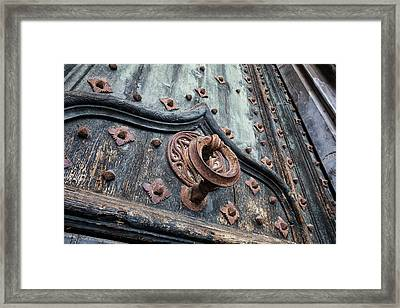 Ancient Door Knocker Of Girona Cathedral Framed Print by Artur Bogacki