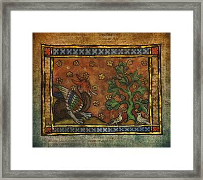 Ancient Dragon With Doves Celtic Art Framed Print by Terry Fleckney