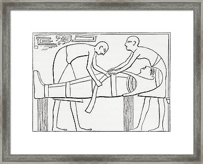 Ancient Egyptians Swathing Or Wrapping Framed Print by Vintage Design Pics