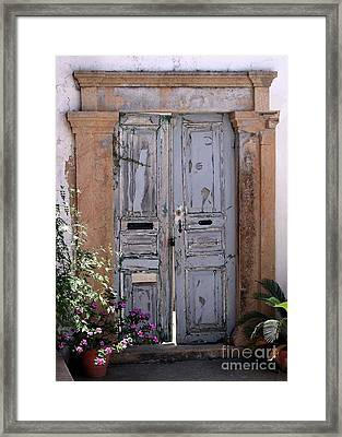 Ancient Garden Doors In Greece Framed Print