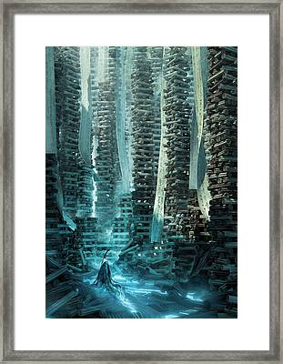 Framed Print featuring the digital art Ancient Library V1 by Te Hu