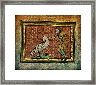 Ancient Man With Falcon Celtic Art Framed Print by Terry Fleckney