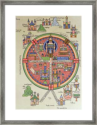 Ancient Map Of Jerusalem And Palestine Framed Print by French School