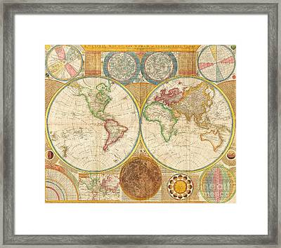 Ancient Map World In Hemispheres Framed Print by Pg Reproductions