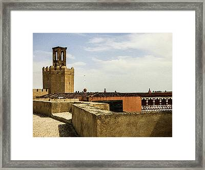 Ancient Moorish Citadel In Badajoz, Spain Framed Print