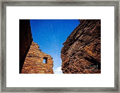 Ancient Native American Pueblo Ruins And Stars At Night Framed Print
