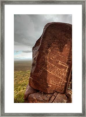 Ancient Petroglyph At Three Rivers Petroglyph Site Framed Print