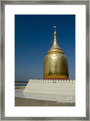 Ancient Riverside Stupa Along The Irrawaddy River In Burma Framed Print