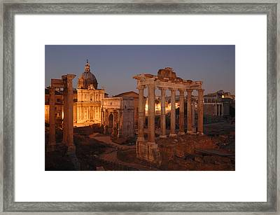 Ancient Romes Skyline At Sunset Framed Print by Kenneth Garrett