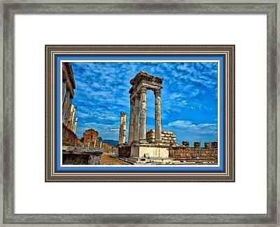 Ancient Ruins Against A Blue Sky L B With Alt. Decorative Ornate Printed Frame. Framed Print