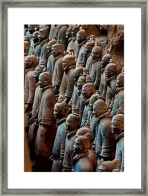 Ancient Soldier Statues Stand At Front Framed Print
