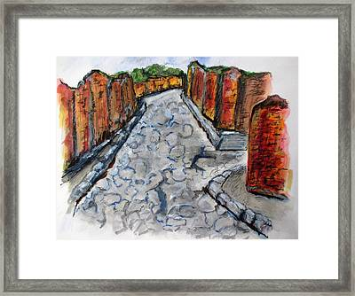 Ancient Street, Pompeii Framed Print by Clyde J Kell