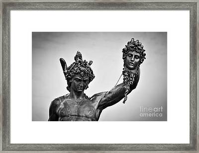 Ancient Style Sculpture Of Perseus With The Head Of Medusa In Loggia Dei Lanzi In Florence, Italy Framed Print by Michal Bednarek