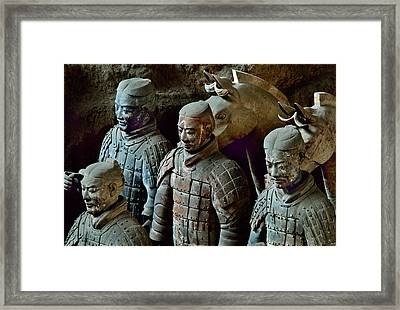 Ancient Terracotta Soldiers Lead Horses Framed Print