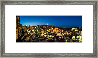Ancient Town Of Matera At Dusk, Basilicata, Southern Italy Framed Print by JR Photography