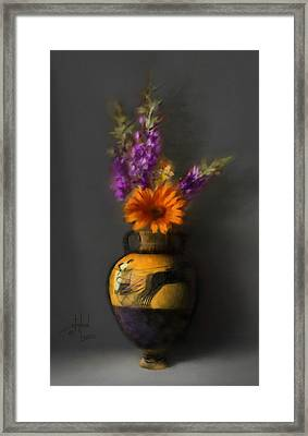 Ancient Vase And Flowers Framed Print