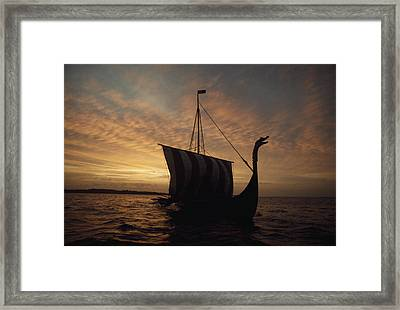 Ancient Vikings Sailed In Vessels Much Framed Print by Ted Spiegel