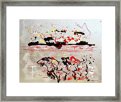 And Down The Stretch They Come Framed Print by J R Seymour