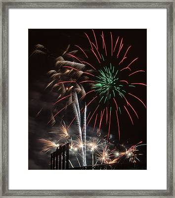 ...and The Rockets Red Green And Gold Glare Framed Print by Kevin Munro