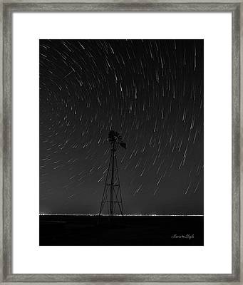 And The Stars Rained Down Black And White Framed Print by Karen Slagle