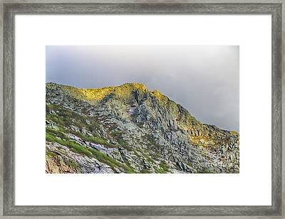 And The Sun Goes Down On Pamola Peak Framed Print by Elizabeth Dow