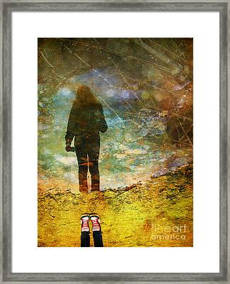 And Then He Turned Her World Upside Down Framed Print by Tara Turner