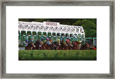 And Theyre Off Framed Print by Linda Tenukas