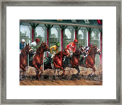 And They're Off Framed Print by Thomas Allen Pauly