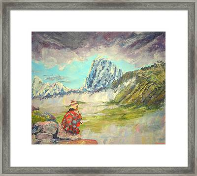 Andean Flautist Framed Print by Anastasia Savage Ealy