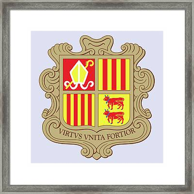 Framed Print featuring the drawing Andorra Coat Of Arms by Movie Poster Prints