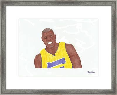 Andrew Bynum Framed Print by Toni Jaso