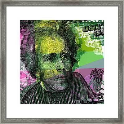 Framed Print featuring the digital art Andrew Jackson - $20 Bill by Jean luc Comperat