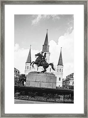 Andrew Jackson - Jackson Square New Orleans Bw Framed Print