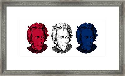 Andrew Jackson Red White And Blue Framed Print by War Is Hell Store