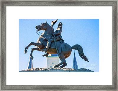 Andrew Jackson Statue - Nola- Impasto Framed Print by Kathleen K Parker