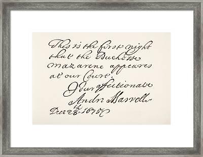 Andrew Marvell, 1621 Framed Print