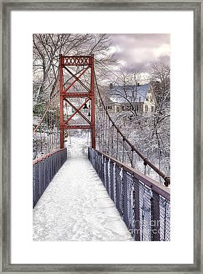 Androscoggin Swinging Bridge And Yellow House In Winter Framed Print
