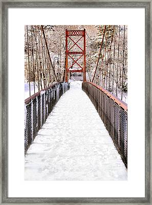 Androscoggin Swinging Bridge In Snow Framed Print by Olivier Le Queinec